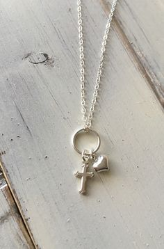 Charm Necklace, Layered Necklace, Heart and Cross, Sterling Silver Jewelry, Sterling Necklace, Personalized Necklace, Custom Charm Necklace by SFDesigns2015 on Etsy https://www.etsy.com/listing/263834054/charm-necklace-layered-necklace-heart