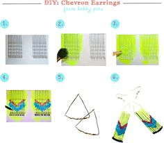 DIY - Chevron neon earrings from bobby pins