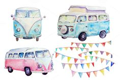 Watercolor clipart camper vans by Corner Croft on Creative Market