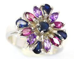 35.10Ct Stamped 925 Silver Ring Sz 7.5 / Sapphire / Rhodolite / Amethyst gemstone ring , cluster silver ring , ring multi gemstone ring