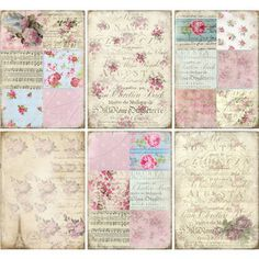 INSTANT DOWNLOAD diGitaL DoWnLOAd ShaBBY ChIc GiFt TAgs FLoRaL baCKgroUnds TouR EiffEL FrENch EphEmeRa sCrAPbooKing KiT PoLKa DoTs, No. 41