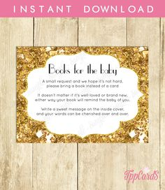 New to TppCardS on Etsy: Instant Download Rich Gold Glitter Book Request Gold Book in Lieu of Card Gold Glitter Baby Shower Book Instead of Card for Girl (4.00 EUR)