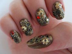 Had a go at some steampunk nail art! Steampunk Nails, Style Steampunk, Steampunk Wedding, Steampunk Clothing, Steampunk Fashion, Steampunk Makeup, 3d Nail Art, Nail Arts, Winter Nail Art