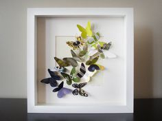 The Dreamer recycled paper butterfly shadow box by krystlerose