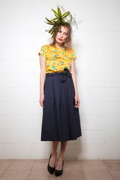 Look book SS17 #vintage #clothes #blue #skirt #yellow #shirt #black #shoes #style #fashion #outfit #highwaist #nastyco