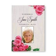 Personalised Funeral Memorial Order of Service Folded Pink Rose & Wood Theme Funeral Order Of Service, Funeral Cards, Funeral Memorial, Invitations, Invite, All Design, A5, Service Design, Pink Roses