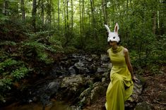 Faux Fur White Bunny Mask, handmade by Spirit Parade