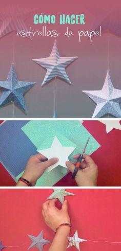 Estas estrellas de papel son super sencillas y se ven muy bonitas, puedes ser la decoración perfecta para tu cuarto o son muy buena opción para regalar.