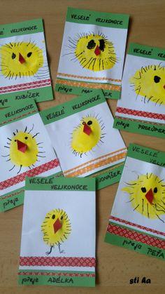 přání - otiska palce - kuřátko Easter Art, Easter Activities, Eyfs, Kindergarten, Lent, Diy, School, Bricolage, Lenten Season