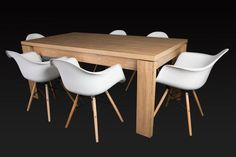 Letta 6 Seater Dining Room Table Dark wood LDF x x cm Arica White Dining Chair PP seat Beech wood legs with metal support x x cm