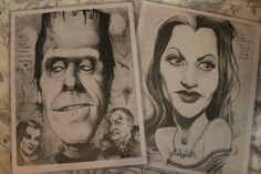 Munsters caricature art 2-pack by PartsUnknownPosters on Etsy