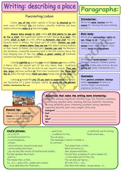 Writing a composition - describing a place. A step-by-step process with an example, simple explanations, useful tips, phrases and adjectives - all on one page. B&W version included. Letter Writing Worksheets, Writing Posters, Reading Comprehension Worksheets, Vocabulary Worksheets, Academic Essay Writing, Best Essay Writing Service, English Writing Skills, Writing Tips, Creative Writing