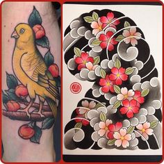 "Por primera vez pude usar el ""yellow canary"" en un canario!!!! J Tattoo, Carp Tattoo, Sleeve Tattoos, Body Art Tattoos, Japanese Flower Tattoo, Japanese Tattoo Designs, Traditional Japanese Tattoos, Irezumi Tattoos, Japanese Sleeve"