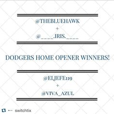 THINK BLUE: Awesome  don't forget to follow  @switchtix @switchtix @switchtix for your chance to win tickets all season long  We decided to double the giveaway from 2 to 4 tix based on the #dodgers love we received. Congrats to @thebluehawk @____.iris.____ @eljefe119 @viva_azul !  We'll have more games to give away soon. Stay tuned!  #fansoverfees  #WeLoveLA  #BleedBlue #DodgerBlue  #LA #Dodgers #ITFDB  #DodgerFam  #LetsGoDodgers #GoDodgers #DodgerNation  #la #losangeles #dodgerstadium…