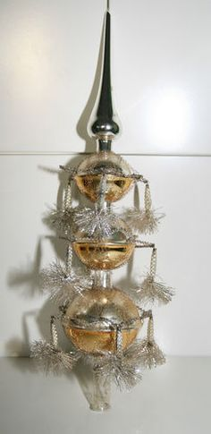 Vintage German Christmas Tree Topper With Tinsle Wire Mercury Glass Victorian Ebay Vintage Christmas Tree