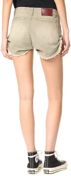0cbfc49f72 Gathered side seams lift the cutoff hem on these wrinkled twill One  Teaspoon shorts. 4
