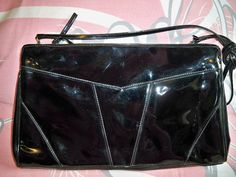 Vintage 1960s Black Patent Shoulder Bag Clutch Purse Lou Taylor Handbag by BlackRain4, $29.99