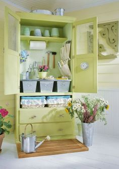 INSPIRATION: armoire transformed into a potting center