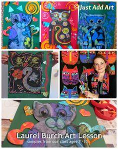 Laurel Burch Inspired Art Lesson for kids