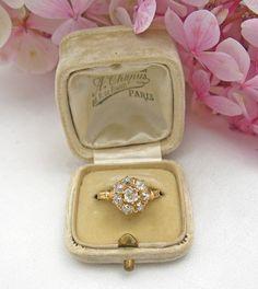 Victorian 14K Yellow Gold European Mine Cut Diamond Cluster Ring 1.5 ctw