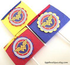 Wonder Woman Emblem Lollipop Party Favors by kppboutique on Etsy, $12.00