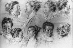 Studies of Women's Heads by @artistwatteau #rococo