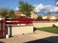Clôture 2 lisse alu SANARY rouge RAL 3004 | Clôture aluminium ...