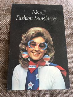 Vintage Postard Advertising New Fashion Je-Dol Sunglasses With Earrings on Chain