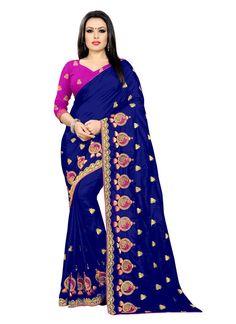 Embroidered Silk Blue Designer Saree Embroidered Silk, Silk Sarees, Royal Blue, Sari, Unique, Collection, Fashion, Saree, Moda