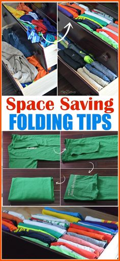 How To Fold Clothes to Save Space (Organizing Tip Using KonMari Folding Method) Need more space in your drawers? DiscoverHow To Fold Clothes to Save Space (Organizing Tip Using KonMari Folding Method). Clothes Drawer Organization, Organisation Hacks, Closet Organization, Organizing Drawers, Fold Clothes, Diy Clothes, Ladies Clothes, Clothes Shops, Dress Clothes