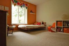 diy daybed - easy to build Modern Girls Rooms, Modern Kids, Modern Room, Mid-century Modern, Orange Rooms, Diy Daybed, Diy Bed Frame, Platform Bed, Houzz