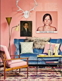 Cornflower Blue couch with Rose Pink walls from Architectural Digest Spain edition
