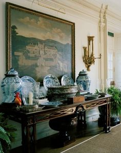 """I find it harder and harder everyday to live up to my blue china. Oscar de la Renta room (via Pin by constance bs on Interior decoration Blue And White China, Blue China, Home Interior, Interior And Exterior, Kitchen Interior, Interior Ideas, Tables Tableaux, Enchanted Home, Foyer Decorating"