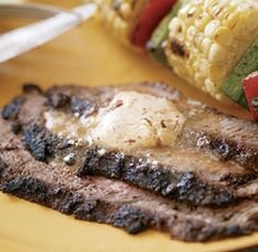 Latin-Style Flank Steak with Chipotle Butter.  Hurry up, summer, time for grilling season.