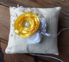Wedding ring pillows in yellow by SweetsOfLife4 on Etsy