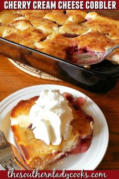 Cherry Cream Cheese Cobbler - The Southern Lady Cooks Cream Cheese Desserts, Köstliche Desserts, Delicious Desserts, Dessert Recipes, Recipes With Cream Cheese, Yummy Food, Strawberry Cream Cheese Cobbler, Cherry Cobbler Recipe With Canned Cherries, Easy Cherry Cobbler