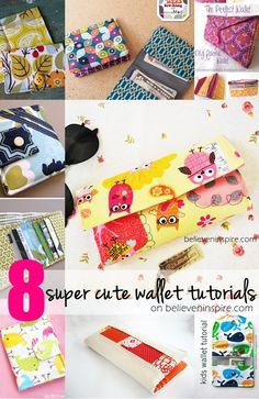 Looking for super cute diy wallet tutorials? Here's a round-up of 8 different ones. Click over to learn more on sewsomestuff.com