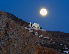 Full moon in Folegandros island, Greece