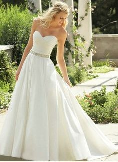 A-Line/Princess Strapless Sweetheart Court Train Satin Wedding Dress With Ruffle Beading