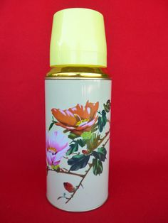 Vintage Thermos - Coffee Thermos - Cup Thermos - Flower Thermos -  New OLD STOCK Travel Thermos 0.62lt SUNFLOWER Nr38. €15.20, via Etsy.
