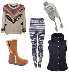 Chalet Girl Inspiration Fairisle Printed Leggings Outfit