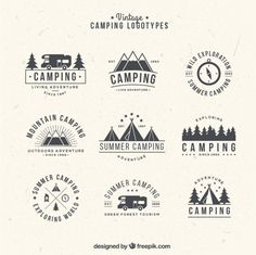 Lade Hand Gezeichnet Camping Logos Im Vintage-stil kostenlos herunter - More camping logotypes/stamps Best Picture For ideas illustration For Your Taste You are looking - Logo Camping, Camping Icons, Camp Logo, Camping Style, Diy Camping, Design Logo Inspiration, Logo Design Trends, Vintage Logos, Vintage Designs