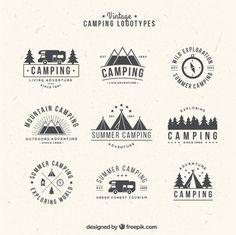 dibujados a mano logotipos para acampar en estilo de la vendimia Vector Gratis