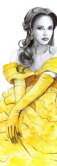 "Belle from ""Beauty and the Beast"". My other Disney Girls: Pocahontas: [link] Esmeralda: [link] Com. Disney Pin Up, Disney Fan Art, Disney Love, Disney Princess Belle, Disney Princesses, Belle Beauty And The Beast, Mellow Yellow, Grey Yellow, Color Yellow"