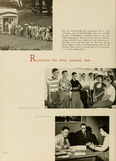 """Athena Yearbook, 1952. """"All in all, Freshman Week is a pretty busy affair, both for freshmen and the upperclassmen. It's over before you really expect it to be: you've purchased your books, your notebooks are clean and still free of doodle, and you're all set to begin your first year in college. Yes , the year has really begun..."""" :: Ohio University Archives"""