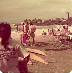 Waimea Bay, 1960s. Aloha Hawaii, Honolulu Hawaii, Hawaii Travel, Oahu, Vintage Surf, Vintage Hawaii, Hawaiian People, Waimea Bay, Hawaii Pictures
