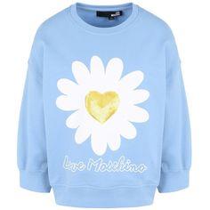 Love Moschino Sweatshirt (1.538.815 IDR) ❤ liked on Polyvore featuring tops, hoodies, sweatshirts, shirts, sky blue, blue shirt, sky blue sweatshirt, blue cotton shirt, long sleeve sequin top and blue sequin shirt
