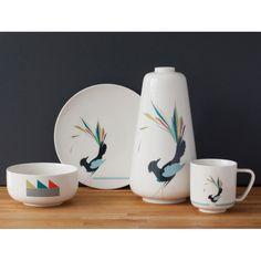 Gullfuglen (The Golden Bird) porcelain collection, grey. Cup, plate, bowl and vase. Floating Shelves, Vase, Plates, Bird, Mugs, Tableware, Prints, Grey Cup, Design