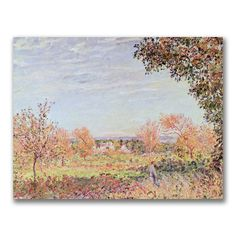 This ready to hang, gallery wrapped art piece features a fall landscape. Alfred Sisley was an Impressionist landscape painter who was born and spent most of his life in France. He was the most consist
