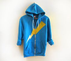 Yellow Lightning Bolt Hand STENCILED Zip Hoodie by twostringjane, $62.00 might be worth it if it was made with discharge ink and was on organic cotton or bamboo, but I doubt it.